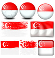 Singapore flag on different items vector image vector image