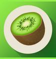 single half ripe juicy kiwi fruit icon vector image