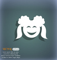 smiling girl icon On the blue-green abstract vector image