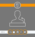 speaker orator speaking from tribune - line icon vector image vector image