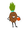 sport pineapple character playing basketball vector image