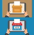 voting online concept hand holding tablet pc and vector image