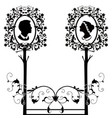 wedding silhouette with tree flourishes vector image vector image