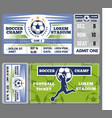 football or soccer ticket template design vector image