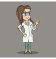Cartoon young female scientist character vector image