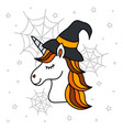 cute halloween unicorn portrait with witch hat vector image