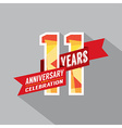 11th Years Anniversary Celebration Design vector image vector image