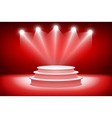 3d theatrical background scene and red curtains vector image