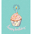 Birthday cupcake with candle bright poster with vector image vector image