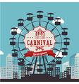 Carnival design over urbanscape background vector image vector image