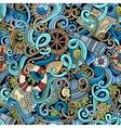 Cartoon hand-drawn nautical doodles seamless vector image vector image