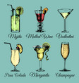cocktails and glasses hand sketched alcoholic vector image vector image