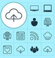 connection icons set collection of download vector image