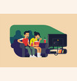 couple watching television together adult young vector image
