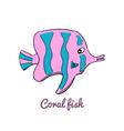 Cute cartoon coral fish vector image vector image
