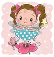 cute fairy on the flower vector image vector image