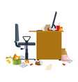 dirty workplace garbage and sticks filthy vector image