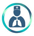 doctor icon with lungs in abstract circle vector image