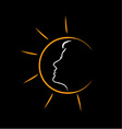 Face of a woman in the sun- showing tanning vector image vector image