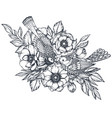floral composition of hand drawn anemone vector image