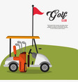 golf club car bag and clubs flag vector image vector image
