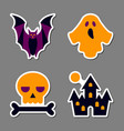 halloween icon sticker set patchwork design vector image