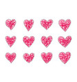 handmade heart valentine card embroidered vector image