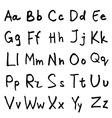 handwritten abc alphabet with leaf vector image
