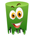 Happy face on green tube vector image vector image