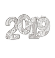 Happy New Year 2019 celebration number vector image vector image