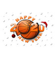 happy new year 2020 and basketball ball vector image vector image