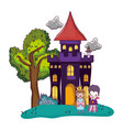 horror castle with children costume and cat vector image