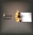 hot fire banner with orange flames for your design vector image vector image