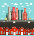 houses with city on background vector image vector image