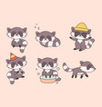 kawaii funny raccoon collection cute raccoons vector image vector image