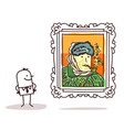 man watching a famous painting vector image
