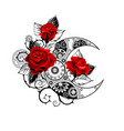 mechanical crescent with red roses vector image vector image