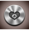 metal favorite icon button vector image vector image