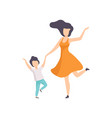 mom and son dancing holding hands kid having fun vector image vector image