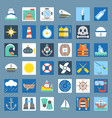 nautical and sailor flat icon set vector image vector image