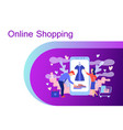 Online shopping concept with characters
