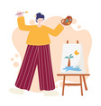 people activities woman artist drawing tropical vector image