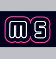 pink white blue alphabet combination letter ms m vector image vector image