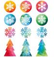 Polygonal Christmas set vector image