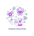 science and education flat line concept vector image vector image