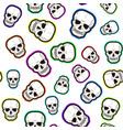 Seamless pattern of colored skulls