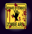 Sign of zombie area Zombie hand silhouette vector image