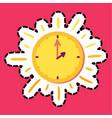 sun clock stitched frame flat color sticker vector image