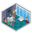 trying shop isometric composition vector image vector image