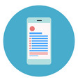 cell smart phone icon on round blue background vector image